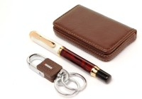 SRPC HOOK KEY CHAIN , LEATHER ATM WALLET & DIKAWEN EXCLUSIVE ROLLER Pen Gift Set (Pack Of 3, Blue)