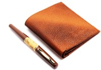 SRPC PREMIUM GENUINE LEATHER MENS WALLET & EXECUTIVE ROYAL WOOD FOUNTAIN Pen Gift Set (Pack Of 2, BLUE)