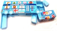 Palakz London Bus Pencil Box Art Plastic Pencil Box (Set Of 1, Blue)