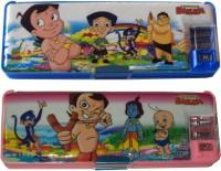 Karta Chota Bheem Combo With LED Light Art Plastic Pencil Boxes (Set Of 2, Blue, Pink)