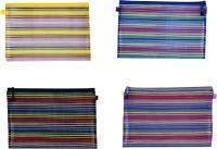 Orchard Zip Pouches Stripes Art Nylon Pencil Boxes (Set Of 4, Multicolor)