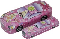 Shopaholic Barbie Car Shaped Art Metal Pencil Boxes (Set Of 1, Pink)