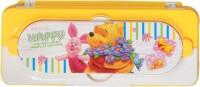 Westoindie Pooh Designer Art Plastic Pencil Box (Set Of 1, Yellow)
