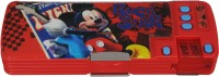 Disney Mickey Cartoon Art Plastic Pencil Box (Set Of 1, Red, Blue)
