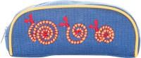 Jute Cottage A-36-Blue Snail Art Jute Pencil Boxes (Set Of 1, Blue)