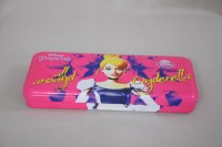 Disney Cinderella Cartoon Art Metal Pencil Box (Set Of 1, Pink, Yellow)