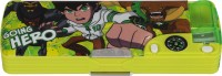 Cartoon Network Ben 10 Cartoon Art Plastic Pencil Box (Set Of 1, Florecent Green, Dark Green)