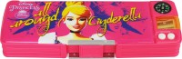 Disney Cinderella Cartoon Art Plastic Pencil Box (Set Of 1, Pink, Yellow)