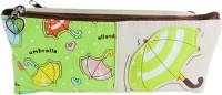 Klassik Double Zip Random Art Cloth Pencil Box (Set Of 1, Green)