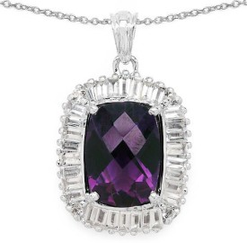 Johareez Beautiful Rhodium Amethyst Sterling Silver Pendant