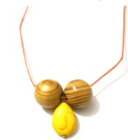 Bohocraft Bohemian Yellow Turquoise Wooden Beads Adjustable Stone, Wood Pendant