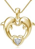 Lilu Jewels Dolphin Heart Shape 14K Yellow Gold Cubic Zirconia Sterling Silver Pendant