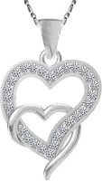 Twisha Twushas Rodiam Plated Pendant With Chain For Girl And Womens Rhodium Cubic Zirconia Alloy