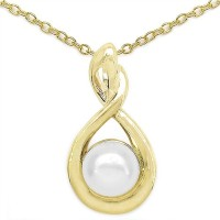 Johareez Fashion 1.16CTW Genuine Pearl .925 Sterling Silver Gold Plating Pendant Yellow Gold Plated Pearl Sterling Silver Pendant