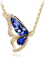 Eterno Fashions Gold Plated Persian Blue Austrian Crystal Dancing Butterfly Pendant For Women Rhodium Crystal Alloy Pendant