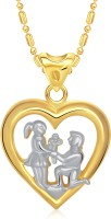 VK Jewels You & Me Heart 18K Yellow Gold Plated Cubic Zirconia Alloy Pendant
