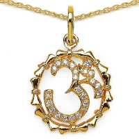 Johareez Fashion 0.49CTW White Cubic Zirconia Brass Gold Plated Om Shape Pendant Yellow Gold Plated Cubic Zirconia Brass Pendant