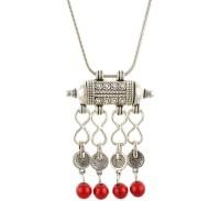 Aaishwarya Antique Silver Tibetan Red Alloy Pendant