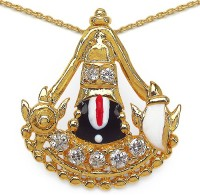 Johareez Fashion 3.10 Grams White Cubic Zirconia Red, White & Black Enamel Gold Plated Brass Lord Tirupati Balaji Shape Pendant Yellow Gold Plated Cubic Zirconia Brass Pendant