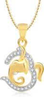 Meenaz Om Ganpati God Pendant With Chain Gifts Jewellery Set Brass, Yellow Gold NAK Cubic Zirconia, Diamond Alloy Pendant