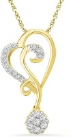 Radiant Bay Floral Sway With 10k Chain 10K Diamond Yellow Gold Pendant