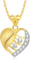 VK Jewels Shining Diva Heart 18K Yellow Gold Plated Cubic Zirconia Alloy Pendant