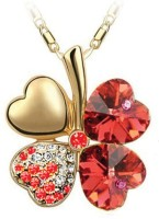 Eterno Gold Plated Red Austrian Crystal Pendant For Women Rhodium Crystal Alloy Pendant