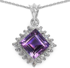 Johareez 3.07CTW Genuine Amethyst & White Topaz .925 Sterling Silver Pendant Rhodium Amethyst Sterling Silver Pendant