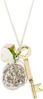 Knighthood Vintage Key Coin And Rose Charmed Necklace Steel Pendant