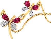 WearYourShine By PC Jewellers The Zerita 18kt Diamond, Ruby Yellow Gold Pendant