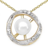 Johareez 1.25CTW Genuine Pearl & White Cubic Zircon .925 Sterling Silver Gold Plating Pendant Yellow Gold Plated Pearl Sterling Silver Pendant