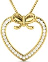 Vijisan 0.47 Ct. Promise Lovely Heart Ladies Yellow Gold Plated Cubic Zirconia Sterling Silver Pendant