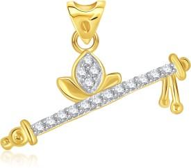 VK Jewels Divine Bansuri 18K Yellow Gold Cubic Zirconia Alloy Pendant