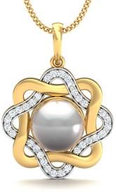 Stylori Disha Pearl Pave 18kt Diamond Yellow Gold Pendant