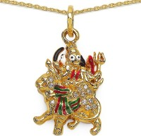 Johareez Fashion 3.80 Grams White Cubic Zirconia Green, Red, White & Black Enamel Gold Plated Brass Maa Durga Shape Pendant Yellow Gold Plated Cubic Zirconia Brass Pendant