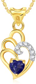 Vk Jewels Blue Curved Heart Valentine 18K Yellow Gold Cubic Zirconia Alloy Pendant
