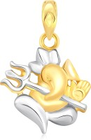 Classic Ganesha With Trishul Gold And Rhodium Plated Pendant [CJ1007PG] Yellow Gold 18K Cubic Zirconia Alloy Pendant