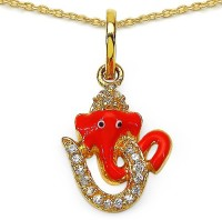 Johareez Fashion 0.38CTW White Cubic Zirconia Brass Gold Plated Multicolor Enamel Lord Ganesha With Om Shape Pendant Yellow Gold Plated Cubic Zirconia Brass Pendant