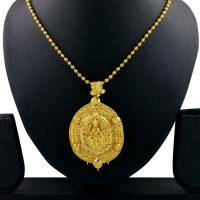 Spargz Traditional Laxmi Spiritual Yellow Gold Brass Pendant