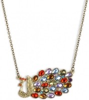 Crunchy Fashion Retro Colorful Peacock Alloy Pendant