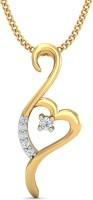 KuberBox Forever Heart 14K Yellow Gold Plated Diamond Gold Pendant