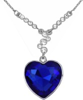 Eterno Heart Of The Ocean : Blue Sapphire+Swarovski Crystal Studded Pendant Rhodium Crystal Alloy Pendant