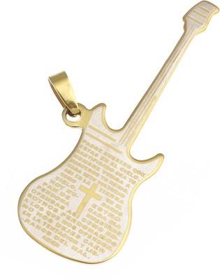 Golden Peacock Guitar Silver Alloy Pendant