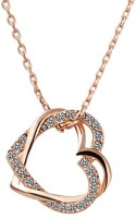Crunchy Fashion Dual Heart Rose Gold Plated Alloy Pendant
