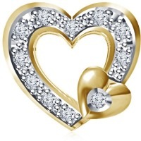 Kirati Heart Design 14K Yellow Gold Plated Cubic Zirconia Sterling Silver Pendant