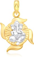 Classic Ganesha On Swastik Gold And Rhodium Plated Pendant [CJ1011PG] Yellow Gold 18K Cubic Zirconia Alloy Pendant