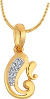 Myzevar Lord Ganesha 18K Yellow Gold Plated Cubic Zirconia Sterling Silver Pendant