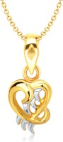 VK Jewels Angelic Heart Shape 18K Yellow Gold Plated Cubic Zirconia Alloy Pendant
