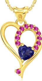 VK Jewels Exclusive Heart Valentine 18K Yellow Gold Cubic Zirconia Alloy Pendant