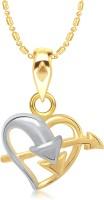 VK Jewels Arrow Through Heart Shape 18K Yellow Gold Plated Alloy Pendant